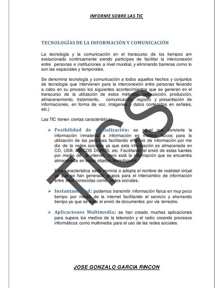 INFORME SOBRE LAS TICTECNOLOGÍAS DE LA INFORMACIÓN Y COMUNICACIÓNLa tecnología y la comunicación en el transcurso de los t...