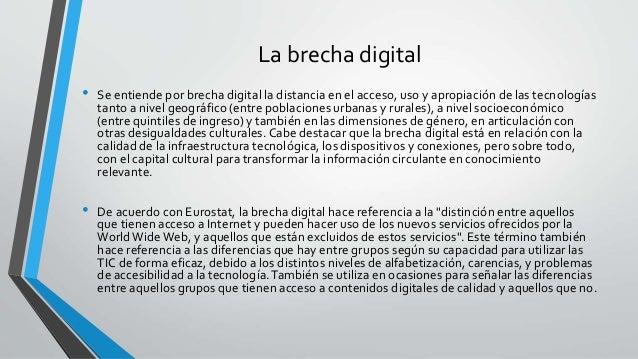 """• El concepto de brecha digital encuentra su antecesor en el llamado informe """"El eslabón perdido"""", que se publicó en 1982 ..."""