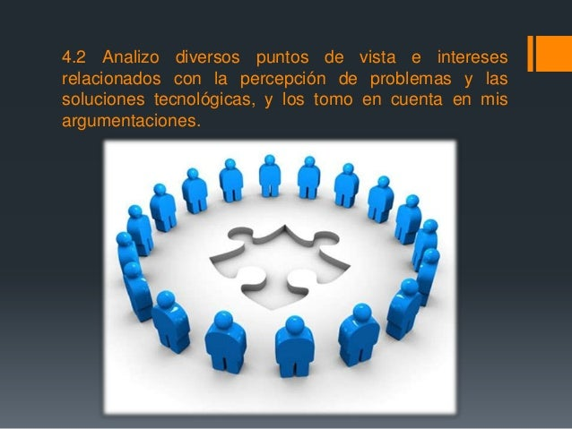 4.2 Analizo diversos puntos de vista e intereses relacionados con la percepción de problemas y las soluciones tecnológicas...