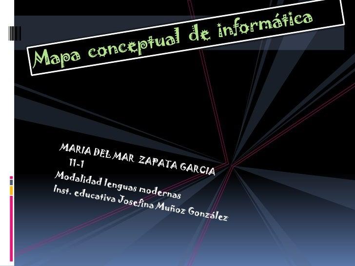 Mapa  conceptual  de  informática<br />MARIA DEL MAR  ZAPATA GARCIA<br />     11-1<br />Modalidad lenguas modernas<br />In...