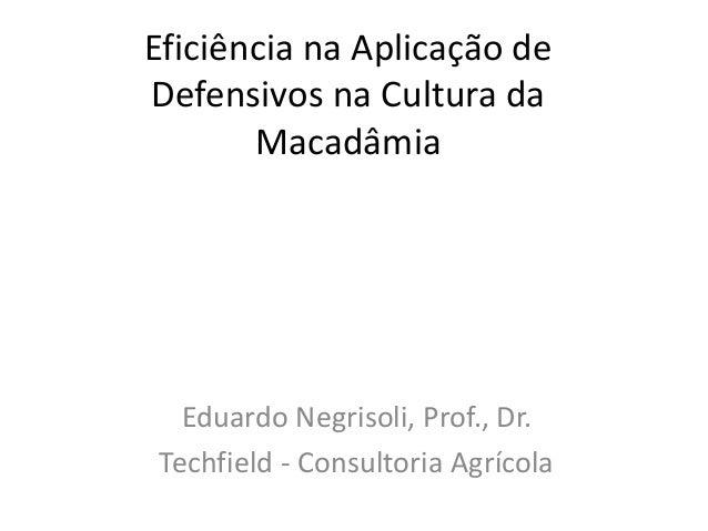 Eficiência na Aplicação de Defensivos na Cultura da Macadâmia  Eduardo Negrisoli, Prof., Dr. Techfield - Consultoria Agríc...