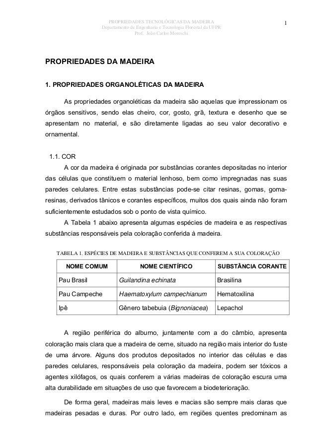 PROPRIEDADES TECNOLÓGICAS DA MADEIRA Departamento de Engenharia e Tecnologia Florestal da UFPR Prof. João Carlos Moreschi ...