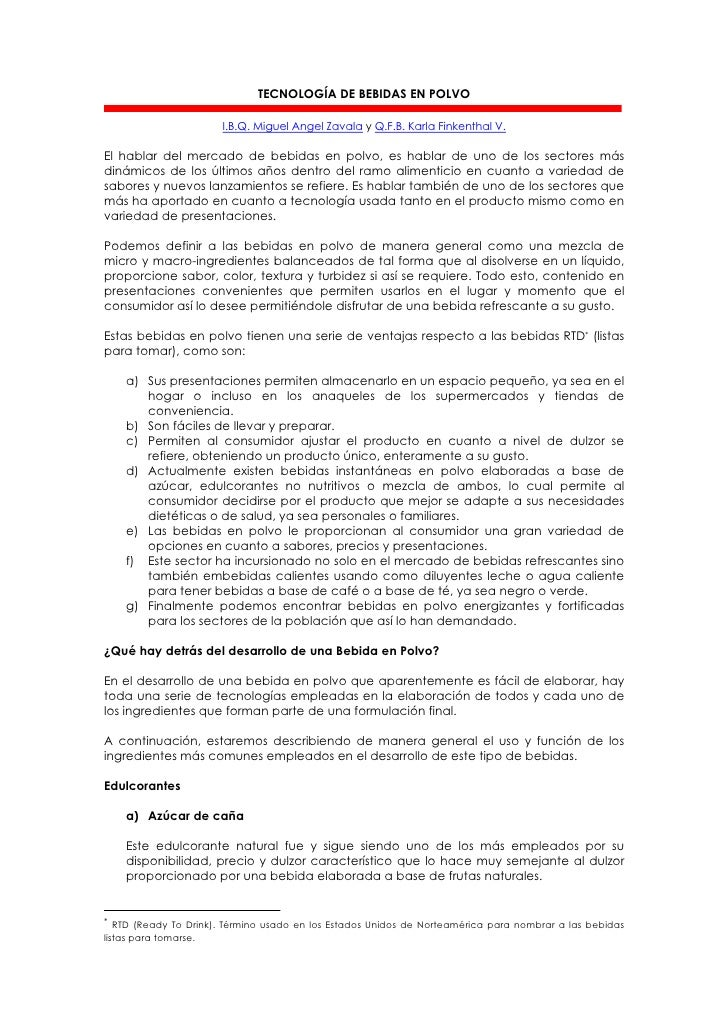 TECNOLOGÍA DE BEBIDAS EN POLVO                         I.B.Q. Miguel Angel Zavala y Q.F.B. Karla Finkenthal V.  El hablar ...