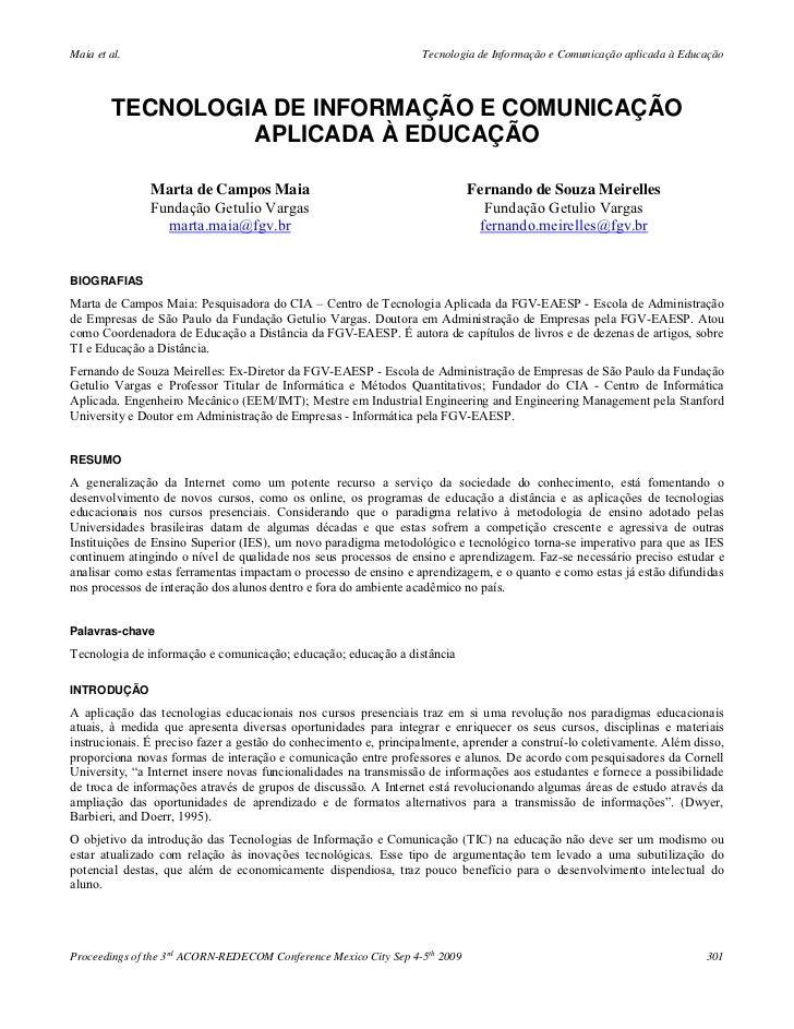 Maia et al.                                                       Tecnologia de Informação e Comunicação aplicada à Educaç...