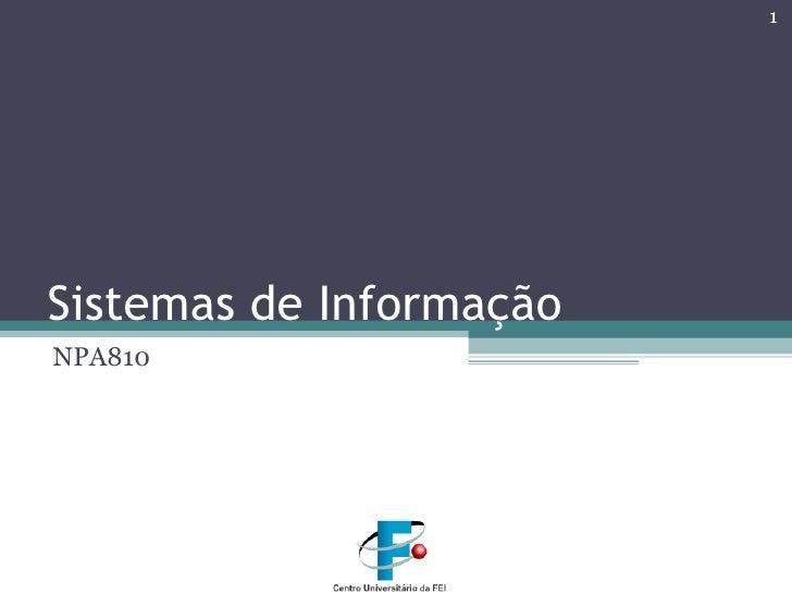 Sistemas de Informação NPA810