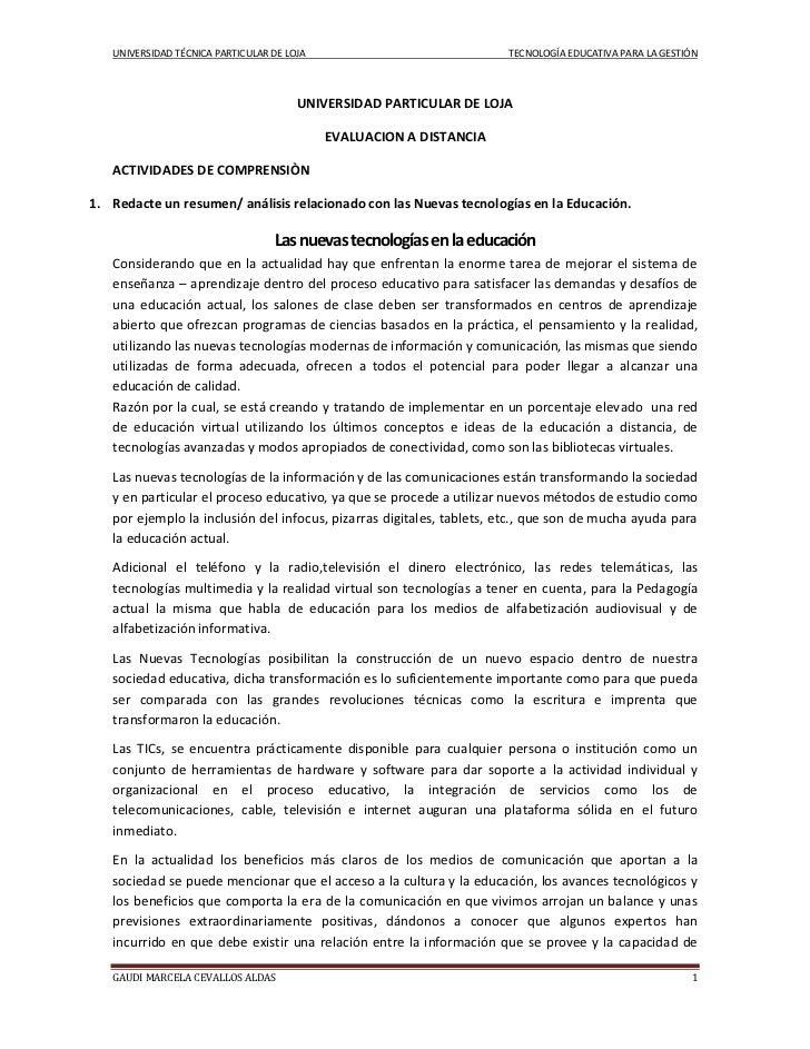 UNIVERSIDAD TÉCNICA PARTICULAR DE LOJA                             TECNOLOGÍA EDUCATIVA PARA LA GESTIÓN                   ...