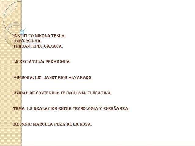 INSTITUTO NIKOLA TESLA. UNIVERSIDAD. TEHUANTEPEC OAXACA. LICENCIATURA: PEDAGOGIA ASESORA: LIC. JANET RIOS ALVARADO UNIDAD ...
