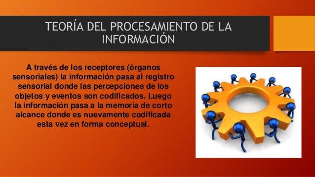 TEORÍA DEL PROCESAMIENTO DE LA INFORMACIÓN A través de los receptores (órganos sensoriales) la información pasa al registr...