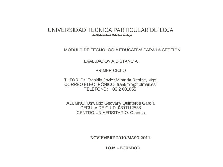 UNIVERSIDAD TÉCNICA PARTICULAR DE LOJA                          LaUniversidadCat ólicadeLoja   MÓDUL...