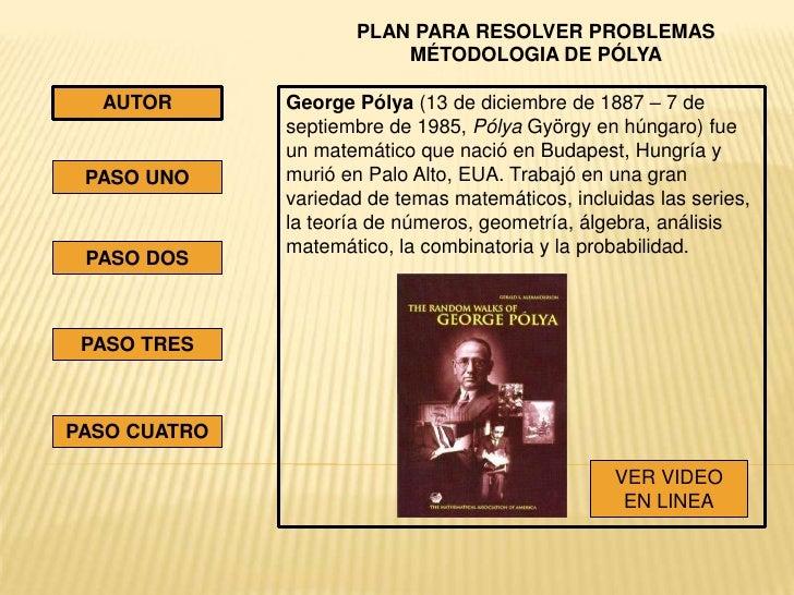 PLAN PARA RESOLVER PROBLEMAS                         MÉTODOLOGIA DE PÓLYA  AUTOR       George Pólya (13 de diciembre de 18...