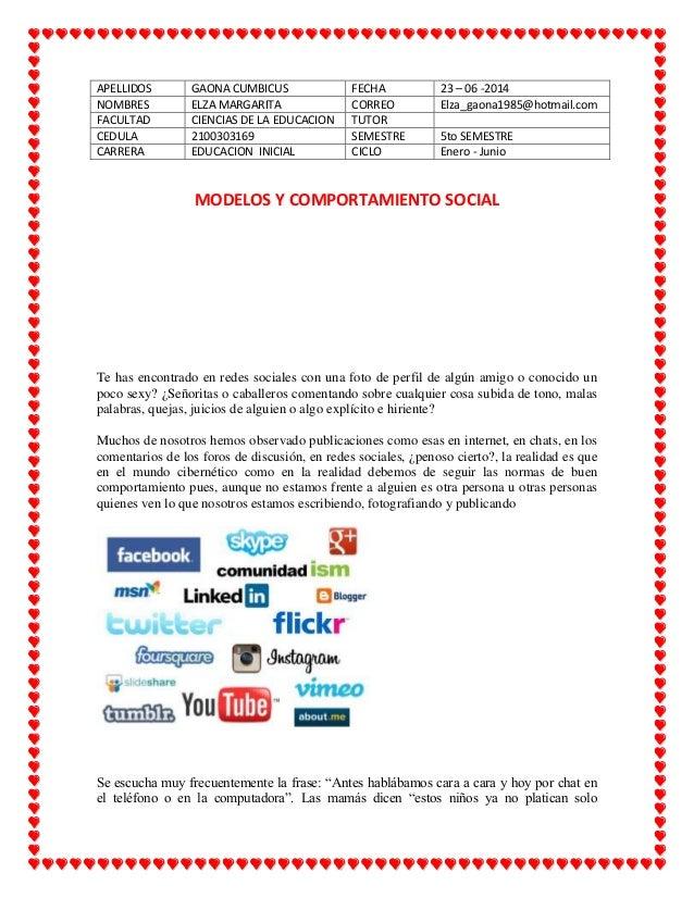 APELLIDOS GAONA CUMBICUS FECHA 23 – 06 -2014 NOMBRES ELZA MARGARITA CORREO Elza_gaona1985@hotmail.com FACULTAD CIENCIAS DE...