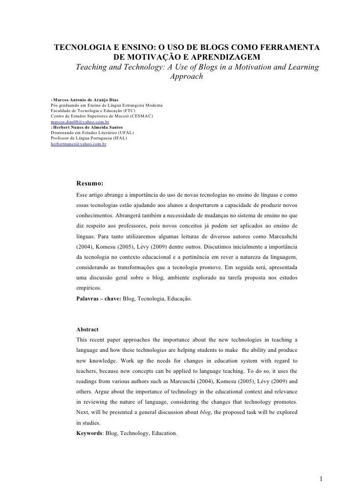 TECNOLOGIA E ENSINO: O USO DE BLOGS COMO FERRAMENTA                  DE MOTIVAÇÃO E APRENDIZAGEM        Teaching and Techn...