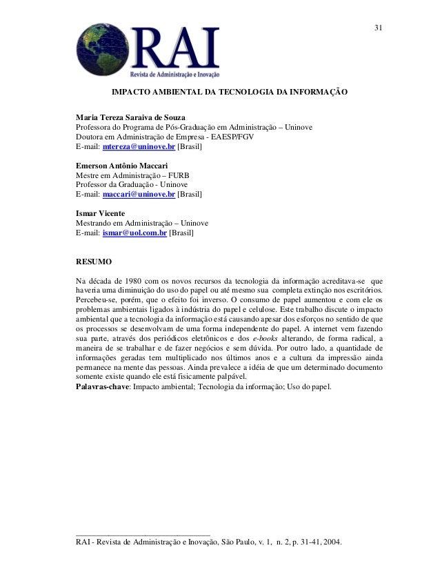 _________________________________ RAI - Revista de Administração e Inovação, São Paulo, v. 1, n. 2, p. 31-41, 2004. 31 IMP...