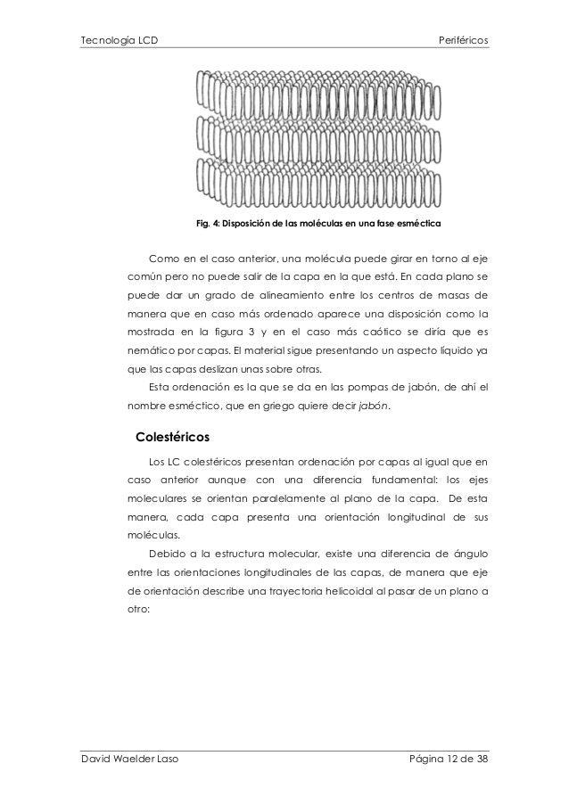 Tecnología LCD Periféricos Fig. 4: Disposición de las moléculas en una fase esméctica Como en el caso anterior, una molécu...