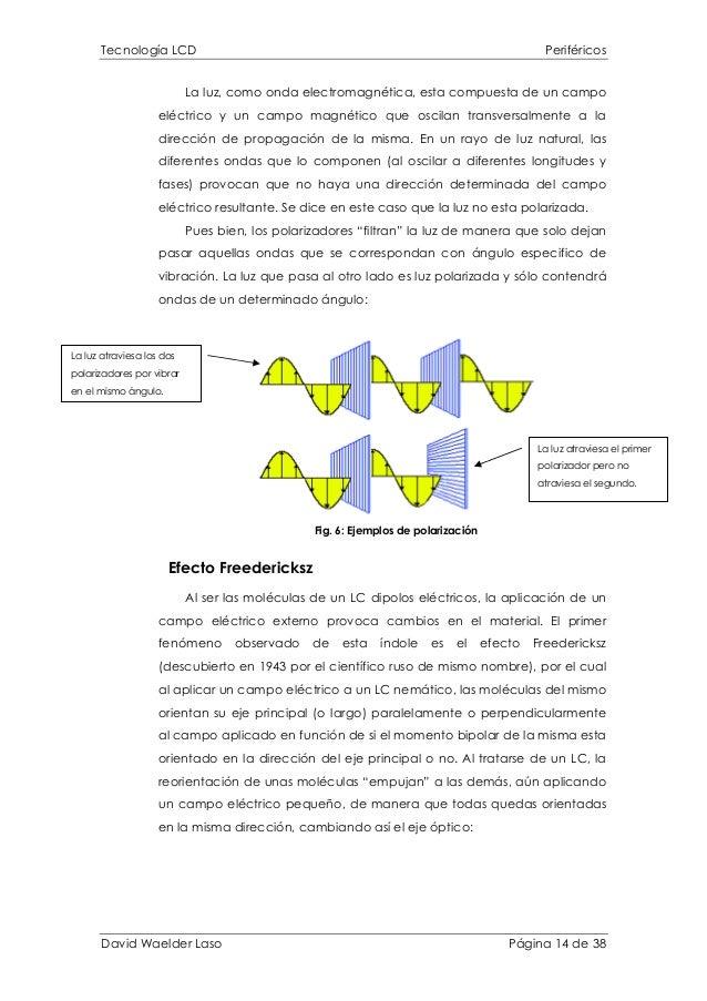 Tecnología LCD Periféricos La luz, como onda electromagnética, esta compuesta de un campo eléctrico y un campo magnético q...