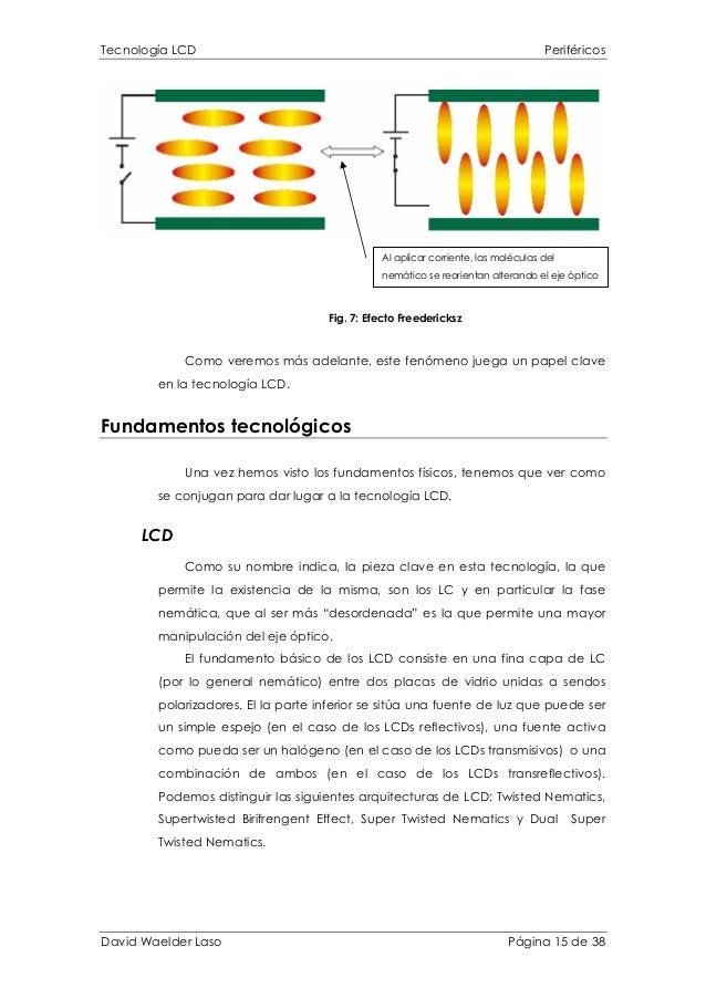 Tecnología LCD Periféricos Al aplicar corriente, las moléculas del nemático se reorientan alterando el eje óptico Fig. 7: ...