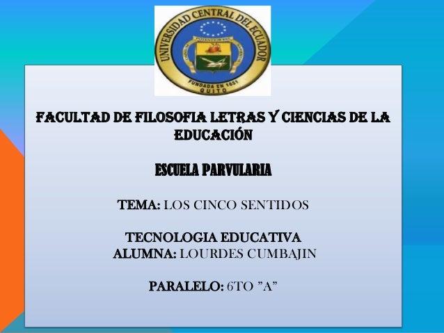 FACULTAD DE FILOSOFIA LETRAS Y CIENCIAS DE LAEDUCACIÓNESCUELA PARVULARIATEMA: LOS CINCO SENTIDOSTECNOLOGIA EDUCATIVAALUMNA...