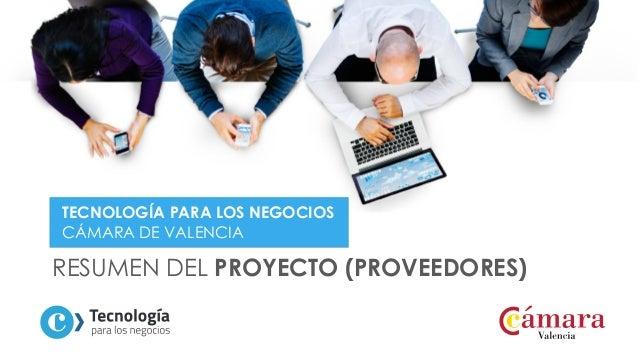 RESUMEN DEL PROYECTO (PROVEEDORES) TECNOLOGÍA PARA LOS NEGOCIOS CÁMARA DE VALENCIA