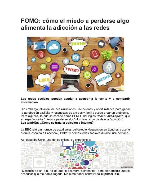 FOMO: cómo el miedo a perderse algo alimenta la adicción a las redes Las redes sociales pueden ayudar a acercar a la gente...