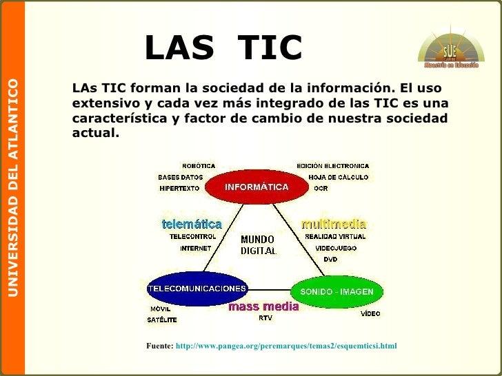 LAS  TIC LAs TIC forman la sociedad de la información. El uso extensivo y cada vez más integrado de las TIC es una caracte...
