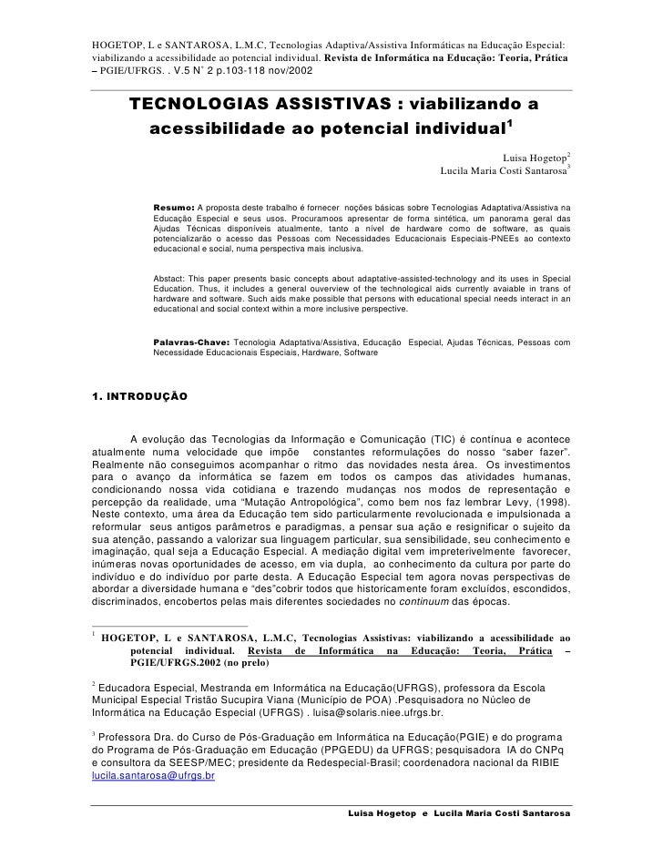 HOGETOP, L e SANTAROSA, L.M.C, Tecnologias Adaptiva/Assistiva Informáticas na Educação Especial: viabilizando a acessibili...
