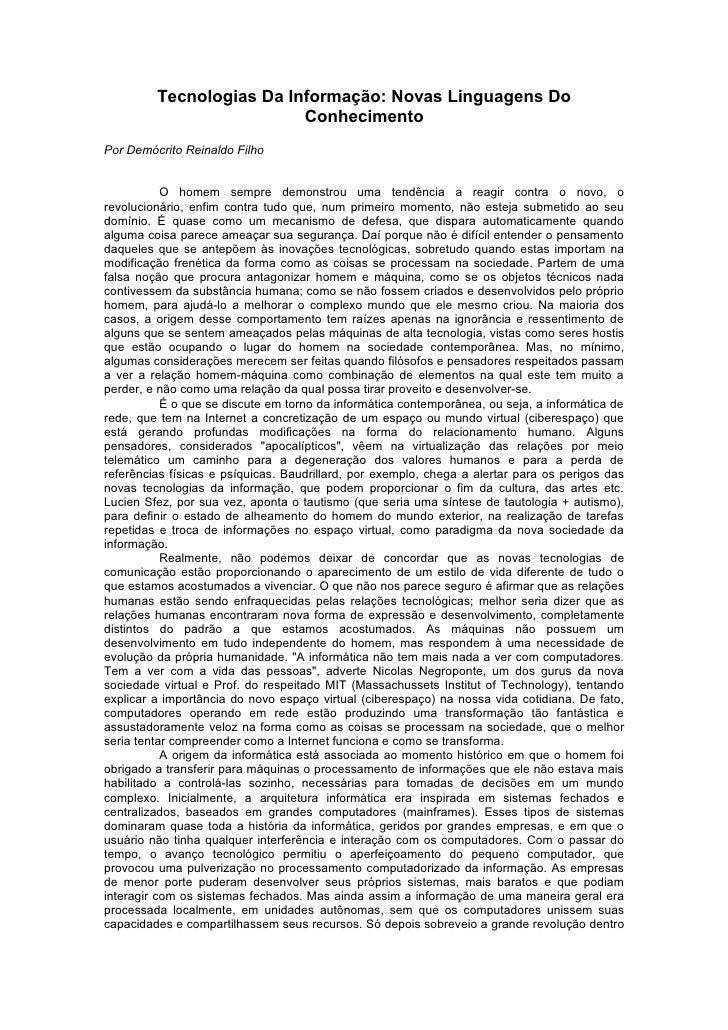 Tecnologias Da Informação: Novas Linguagens Do                           Conhecimento Por Demócrito Reinaldo Filho        ...