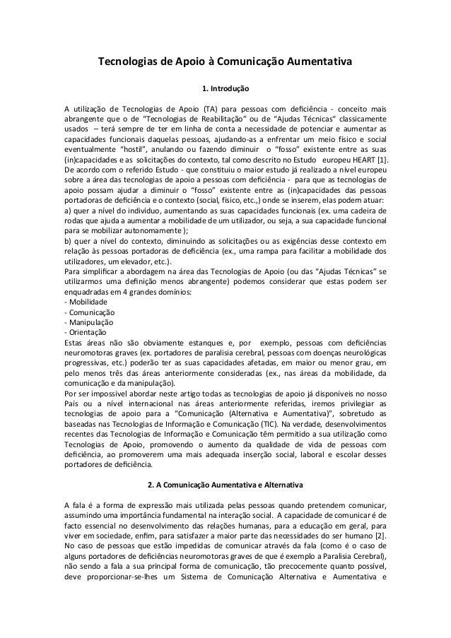 Tecnologias de Apoio à Comunicação Aumentativa                                        1. IntroduçãoA utilização de Tecnolo...