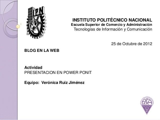 INSTITUTO POLITÉCNICO NACIONAL                      Escuela Superior de Comercio y Administración                       Te...