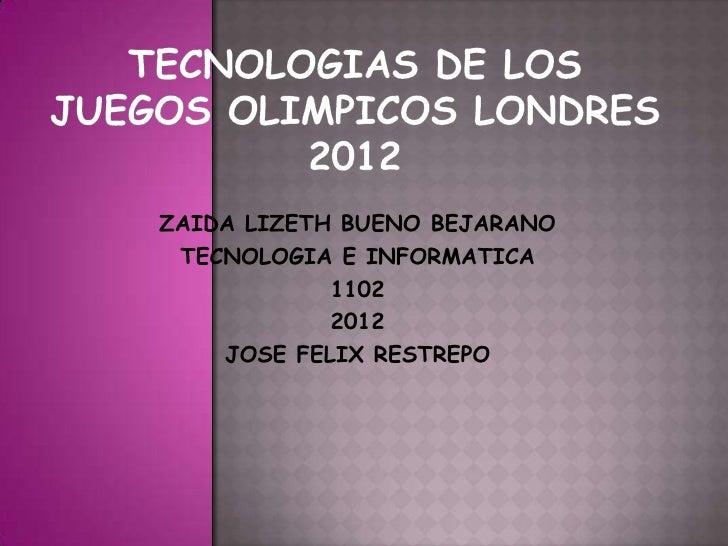 ZAIDA LIZETH BUENO BEJARANO TECNOLOGIA E INFORMATICA            1102            2012    JOSE FELIX RESTREPO