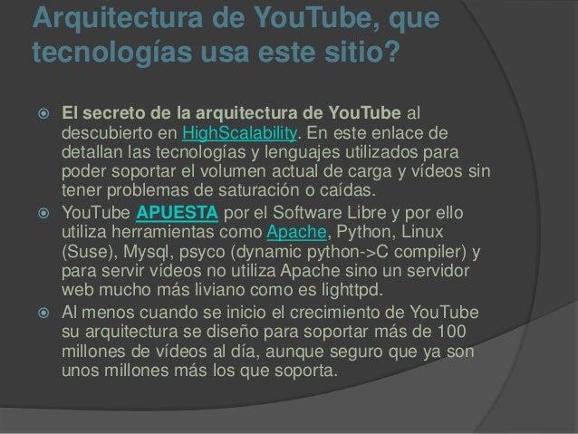 Arquitectura de YouTube, que tecnologías usa este sitio?  El secreto de la arquitectura de YouTube al descubierto en High...
