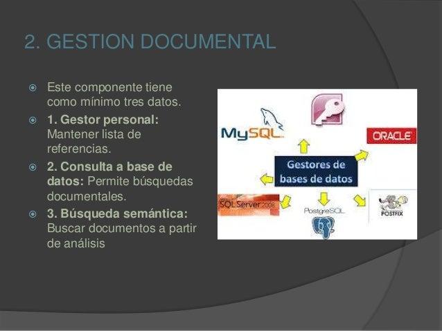 2. GESTION DOCUMENTAL  Este componente tiene como mínimo tres datos.  1. Gestor personal: Mantener lista de referencias....