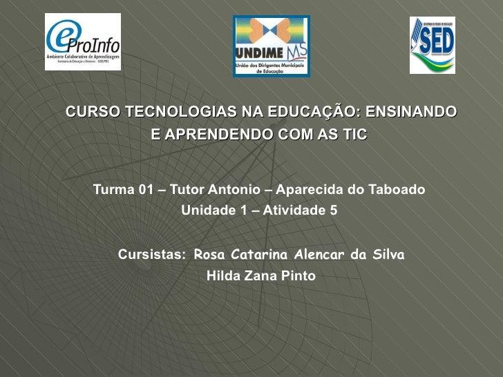 CURSO TECNOLOGIAS NA EDUCAÇÃO: ENSINANDO E APRENDENDO COM AS TIC  Turma 01 – Tutor Antonio – Aparecida do Taboado  Unidade...