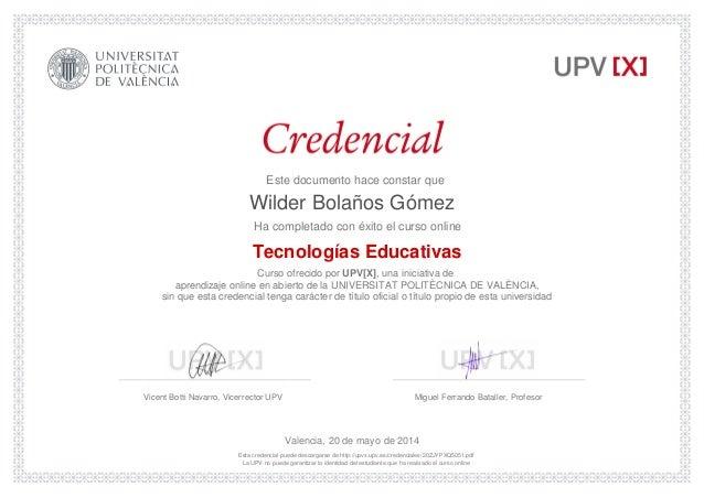 Tecnologias educativas universidad politecnica de valencia for Universidad de valencia online