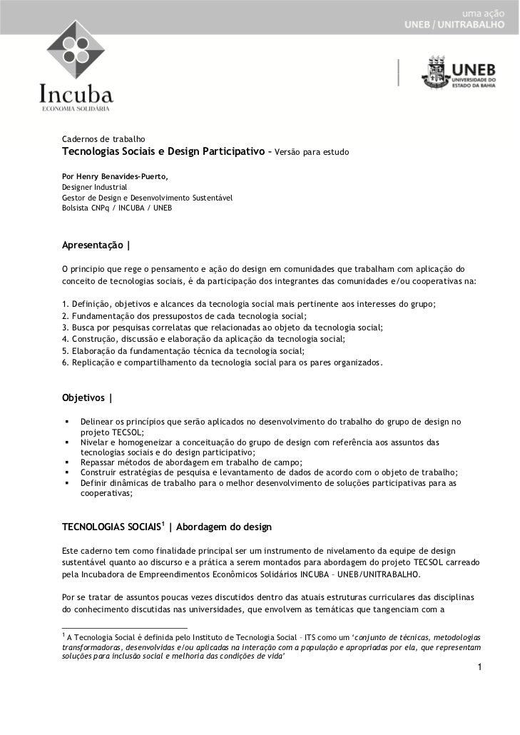 Cadernos de trabalhoTecnologias Sociais e Design Participativo – Versão para estudoPor Henry Benavides-Puerto,Designer Ind...