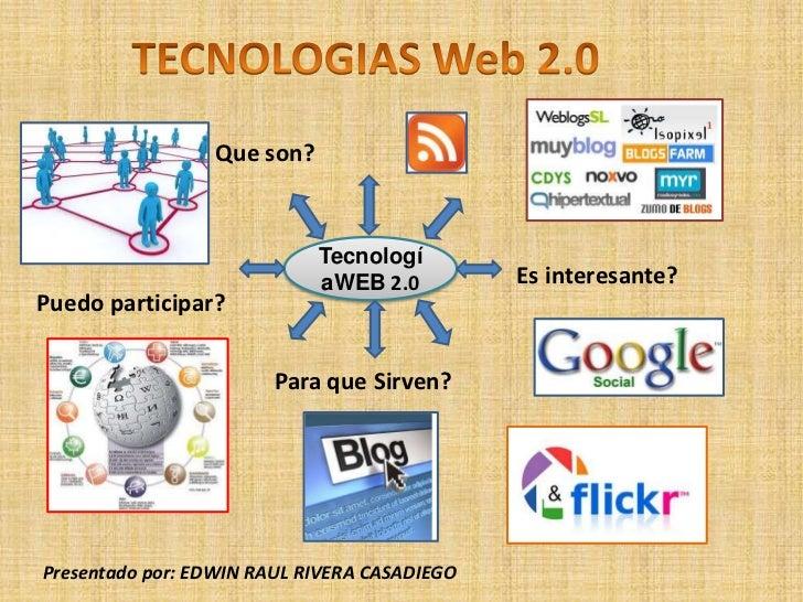 Que son?                            Tecnologí                            aWEB 2.0          Es interesante?Puedo participar...