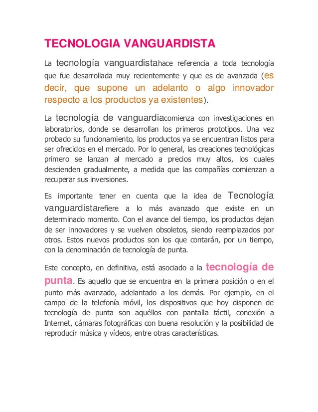 Tecnologia vanguardista for Vanguardia concepto