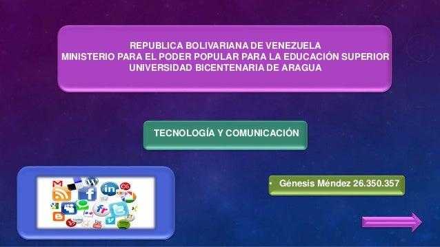 REPUBLICA BOLIVARIANA DE VENEZUELA MINISTERIO PARA EL PODER POPULAR PARA LA EDUCACIÓN SUPERIOR UNIVERSIDAD BICENTENARIA DE...