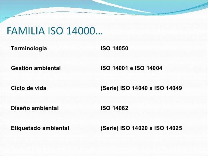 Terminología ISO 14050 Gestión ambiental ISO 14001 e ISO 14004 Ciclo de vida (Serie) ISO 14040 a ISO 14049 Diseño ambienta...