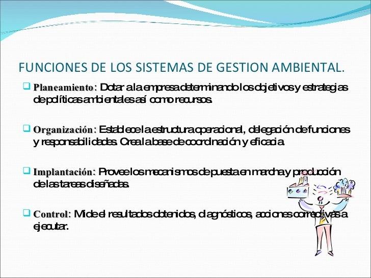 FUNCIONES DE LOS SISTEMAS DE GESTION AMBIENTAL. <ul><li>Planeamiento:  Dotar a la empresa determinando los objetivos y est...