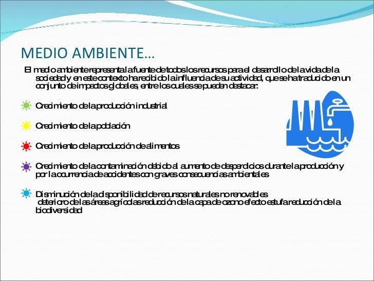 MEDIO AMBIENTE… <ul><li>El medio ambiente representa la fuente de todos los recursos para el desarrollo de la vida de la s...