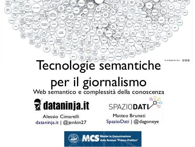 Tecnologie semantiche per il giornalismo Web semantico e complessità della conoscenza Matteo Brunati SpazioDati | @dagoney...