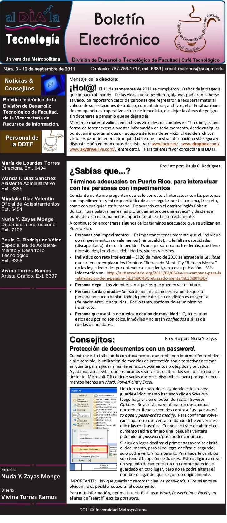 Universidad Metropolitana     División de Desarrollo Tecnológico de Facultad | Café Tecnológico Núm. 3 - 12 de septiembre ...