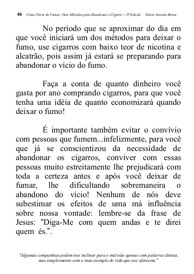 Que consequência depois que deixará de fumar