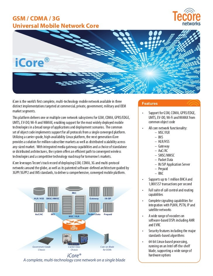 GSM / CDMA / 3GUniversal Mobile Network Core iCore®iCore is the world's first complete, multi-technology mobile network av...