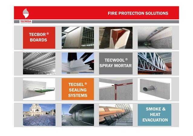 FIRE PROTECTION SOLUTIONS  TECBOR ® BOARDS  TECWOOL ® SPRAY MORTAR  TECSEL ® SEALING SYSTEMS SMOKE & HEAT EVACUATION 3