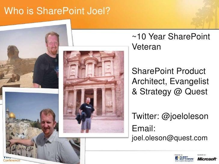 Joel Oleson: SharePoint 2010 Upgrade Drill Down Slide 2