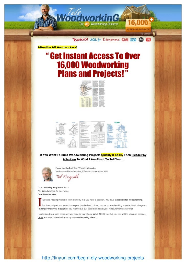 """Attention All Woodworkers!        """" Get Instant Access To Over            16,000 Woodworking            Plans and Projects..."""
