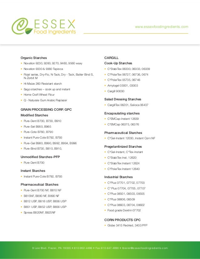 Essex Food Ingredients Product List
