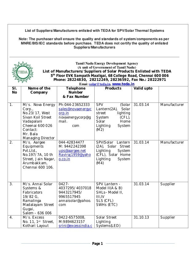 Page 1 List of Suppliers/Manufacturers enlisted with TEDA for SPV/Solar Thermal Systems Note: The purchaser shall ensure t...