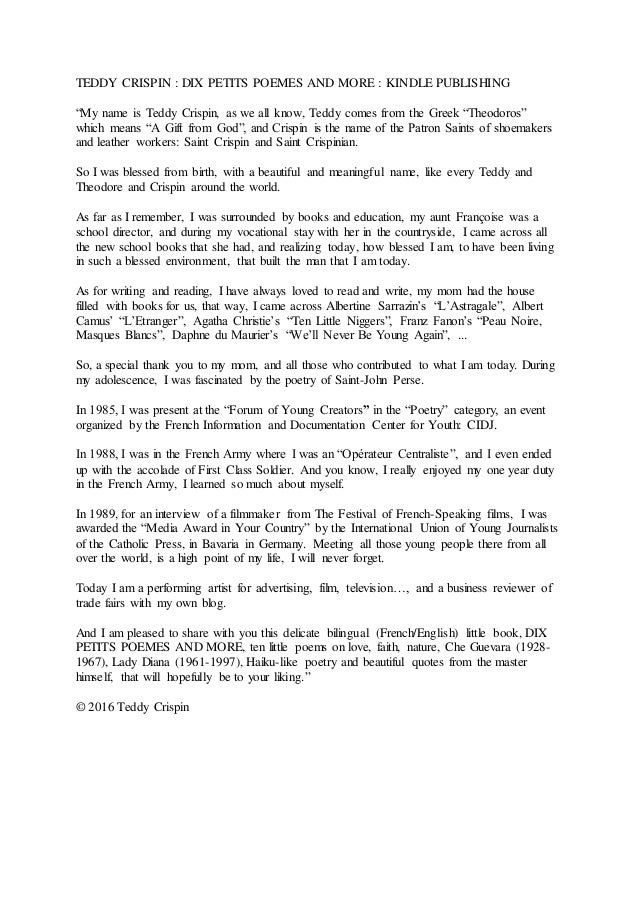 "TEDDY CRISPIN : DIX PETITS POEMES AND MORE : KINDLE PUBLISHING ""My name is Teddy Crispin, as we all know, Teddy comes from..."